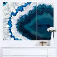 Designart 'Blue Brazilian Geode' Abstract Canvas Wall Art Print - 36x28 - 3 Panels - Blue