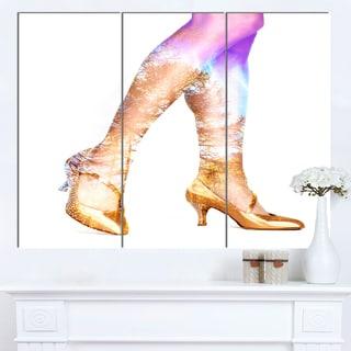 Designart 'Dancer Legs and Treescape Double Exposure' Portrait Canvas Wall Art Print