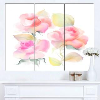 Designart 'Beautiful Pink Rose Flowers' Large Animal Canvas Wall Art Print