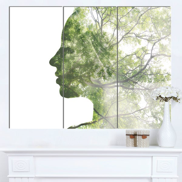 Designart 'Lady Combined With Green Tree' Portrait Canvas Wall Art Print. Opens flyout.