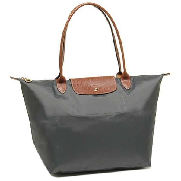 Shop Longchamp Le Pliage Gunmetal Grey Nylon Large Foldable Tote Bag ... 1c7fe91edd908