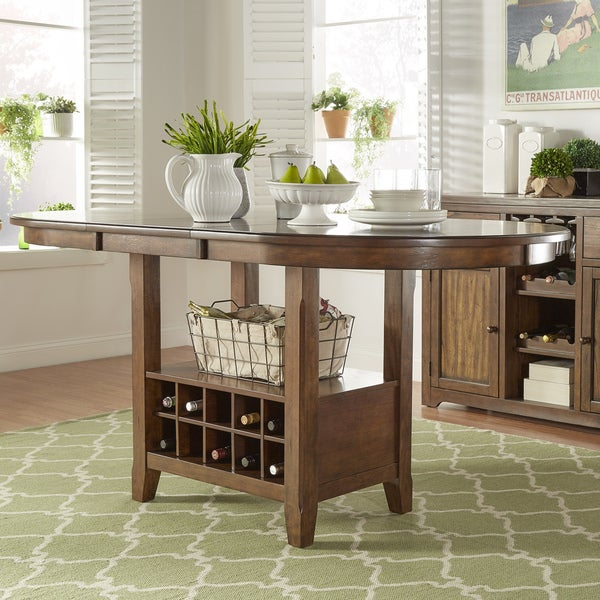 Wine Rack Dining Table: Tuscany Brown Wood Wine Rack Counter Height Extending