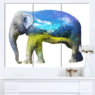 Designart 'Elephant Double Exposure Illustration' Large Animal Canvas Wall Art Print
