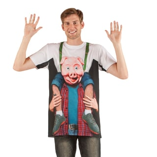 Men's Faux Real Piggy Back Ride Polyester Shirt