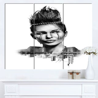 Designart 'Double Exposure Woman With Hair' Portrait Canvas Wall Art Print
