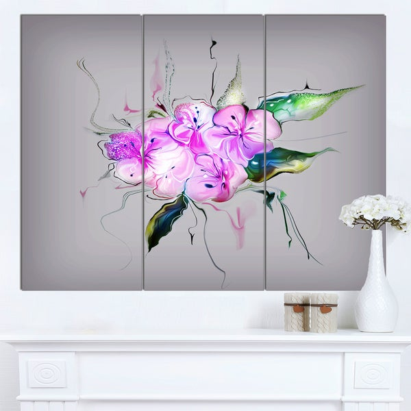 Designart 'Purple and Pink Pansies Flowers' Large Animal Canvas Wall Art Print - Purple