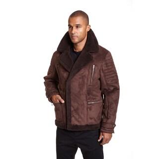 Excelled Men's Black Faux Shearling Asymmetrical Zip Jacket