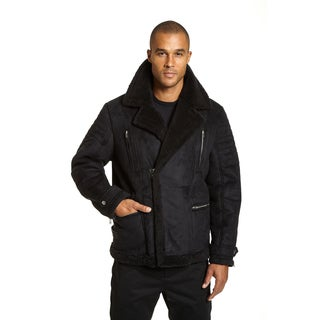Excelled Men's Black Faux Shearling Asymmetrical Zip Jacket