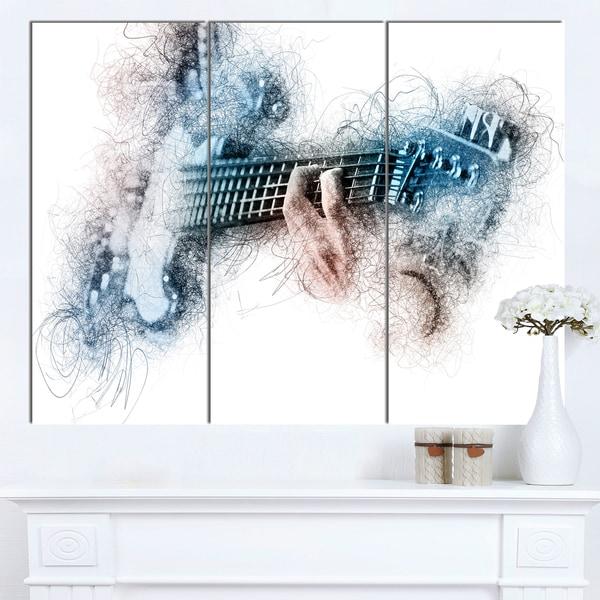 Designart 'Man Playing A Guitar Watercolor' Modern Canvas Wall Art Print - multi