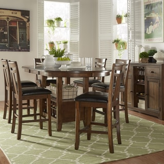 Tuscany Brown Wood Wine Rack Counter Height Extending Dining Table Set by TRIBECCA HOME