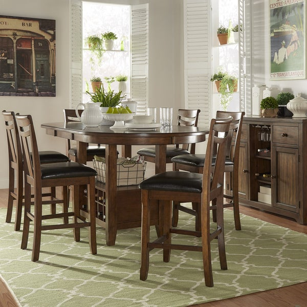 Tuscany Brown Wood Wine Rack Counter Height Extending Dining Table Set By  INSPIRE Q Classic