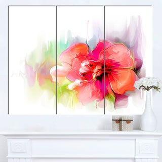 Designart 'Beautiful Red Floral Watercolor' Modern Floral Wall Artwork