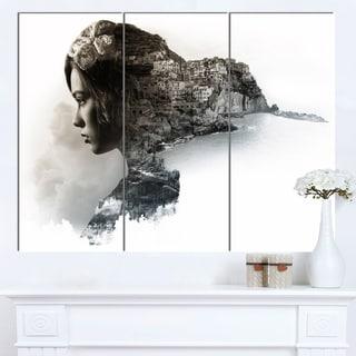 Designart 'Stylish Woman and View of Manarola' Portrait Canvas Wall Art Print