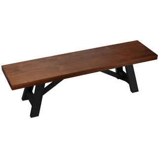 Cortesi Home Marli Wood Dining Bench with Black Steel Trestle Frame