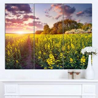 Designart 'Fantastic Yellow Field at Sunset' Large Landscape Art Canvas Print
