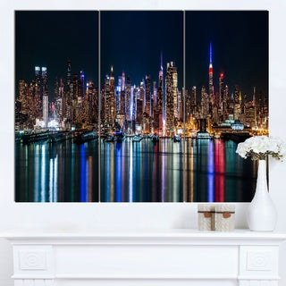 Designart 'New York Midtown Night Panorama' Extra Large Cityscape Wall Art on Canvas
