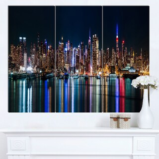 Designart 'New York Midtown Night Panorama' Extra Large Cityscape Wall Art on Canvas - 36x28 - 3 Panels