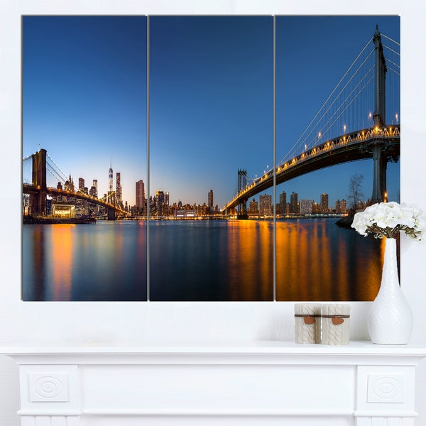 Designart 'New York City Dusk Panorama' Extra Large Cityscape Wall Art on Canvas - multi