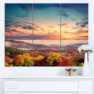 Designart 'Colorful Sunset in Foggy Mountains' Large Landscape Art Canvas Print