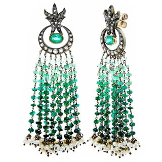 Silver and Gold 1 1/4ct TDW White Diamond Emerald and Pearl Antique Waterfall Estate Earrings (J-K, I1-I2)