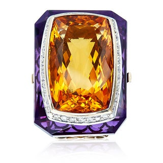 18k Yellow Gold 1/2 ct TDW Citrine and Diamond Cocktail Ring (H-I, SI1-SI2)