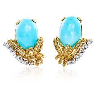 14k Yellow Gold 4/5ct TDW Diamond and Turquoise Estate Clip Earrings (G-H, SI1-SI2)