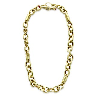 18k Yellow Gold 1/4ct TDW White Diamond Cable Chain Estate Toggle Necklace (H-I, SI1-SI2)