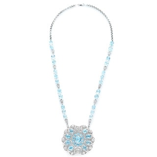 18k and 14k White Gold 5 3/4ct TDW Aquamarine and Diamond Estate Necklace (H-I, SI1-SI2)