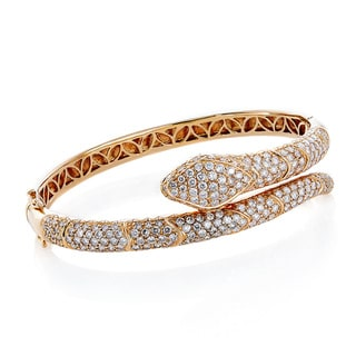 18k Pink Gold 7ct TDW Pave Diamond Snake Bangle (G-H, SI1-SI2)