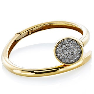 18k Yellow Gold 1 1/2ct TDW Whitee Diamond Nail Head Look Estate Bangle (H-I, SI1-SI2)