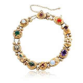 14k Yellow Gold Pearl, Diamond, and Gemstone Antique Estate Slide Charm Bracelet