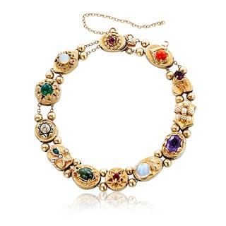 14k Yellow Gold Pearl, Diamond, and Gemstone Antique Estate Slide Charm Bracelet