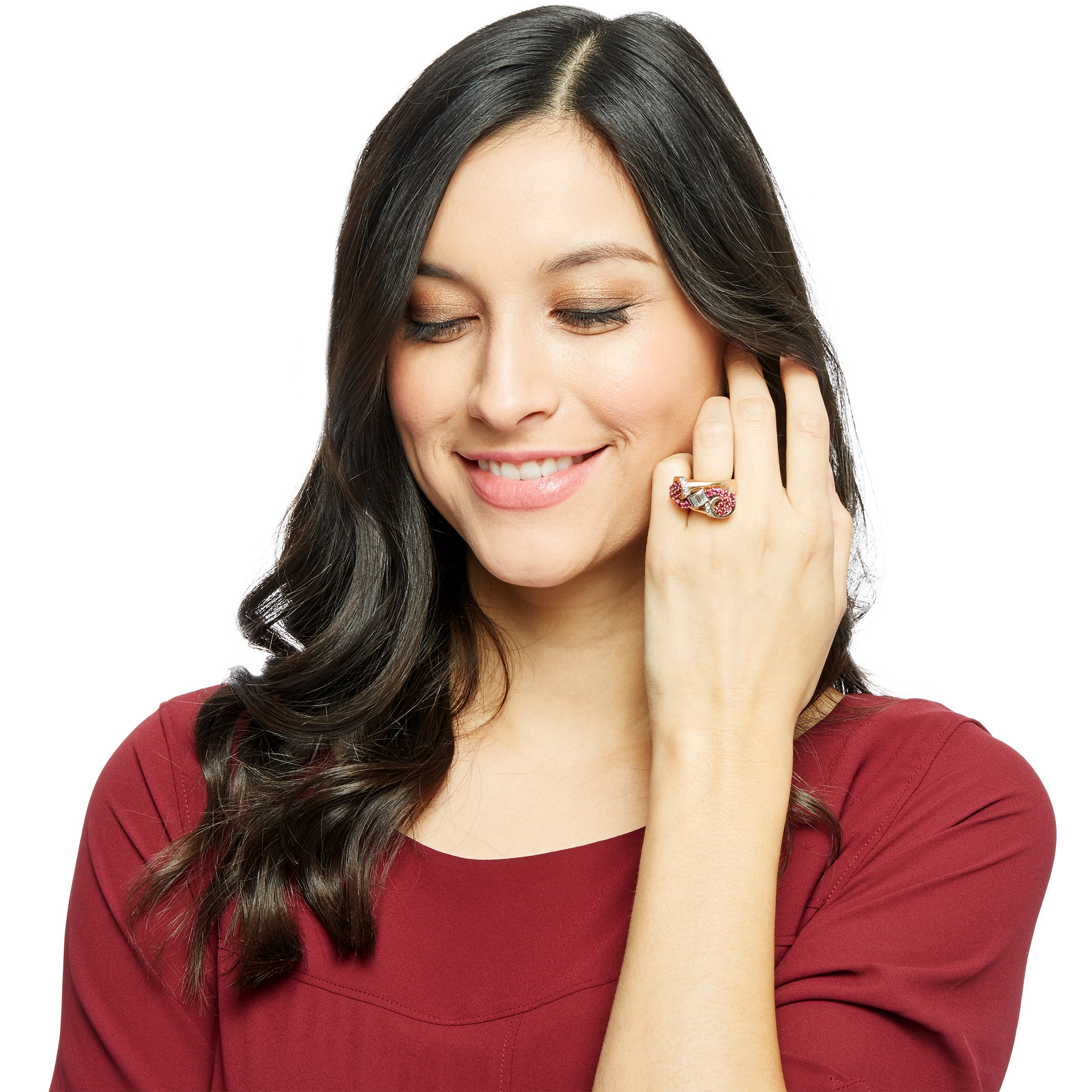 Shop 14k Pink Gold 2 3ct Tdw White Diamond And Ruby Deco Estate Ring Size 4 H I Si1 Si2 Overstock 13537033