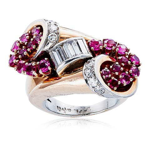 14k Pink Gold 2/3ct TDW White Diamond and Ruby Deco Estate Ring Size 4 (H-I, SI1-SI2)