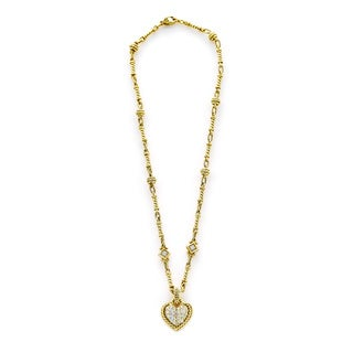 18k Yellow Gold 1ct TDW Diamond Heart Pendant and Chain Estate Necklace (H-I, SI1-SI2)