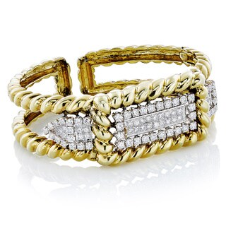 14k Yellow Gold 4ct TDW Cluster of Diamond Rope Textured Bangle (G-H, VS1-VS2)