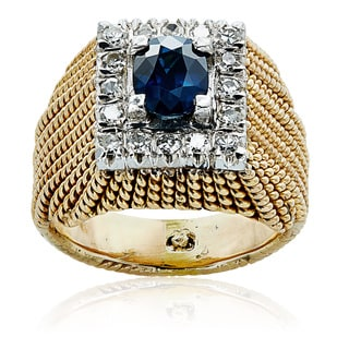 14k Yellow Gold 1/3ct TDW Sapphire and Diamond Twisted Estate Ring (H-I, SI1-SI2)