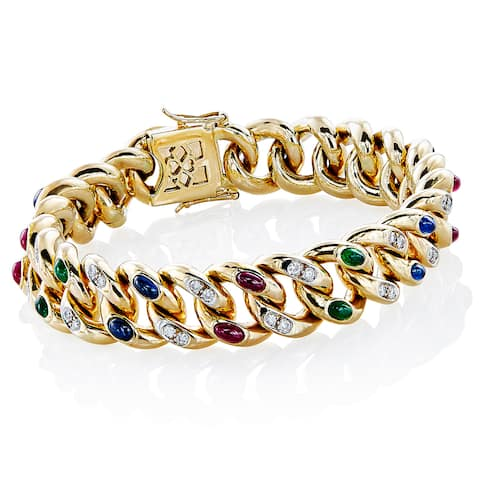 18k Yellow Gold 2/3ct TDW White Diamond and Gemstone Engraved Bracelet (H-I, SI1-SI2)