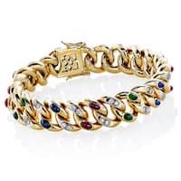 18k Yellow Gold 2/3ct TDW White Diamond and Gemstone Engraved Bracelet (H-I, SI1-SI2)