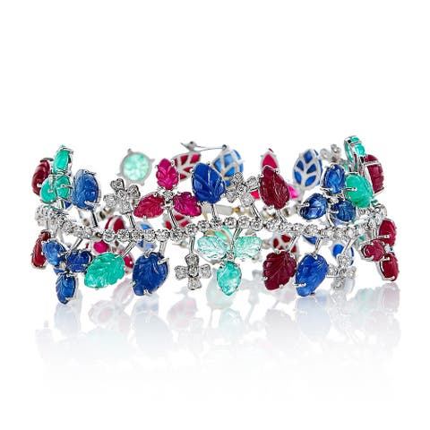 18k White Gold 4 1/2ct TDW Diamond and Gemstones Tutti Frutti Bracelet (G-H, SI1-SI2)