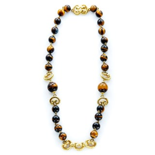 18k Yellow Gold Tiger's Eye Beads Estate Necklace