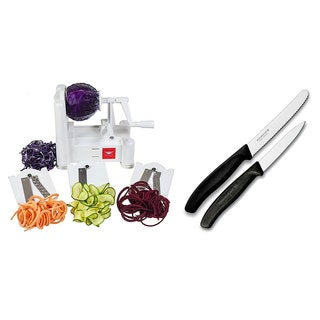 Paderno World Cuisine 3-Blade Veggie Slicer w/ Victorinox Paring Knife Set