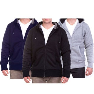 Men's Heavy Sherpa-lined Polyester, Cotton Zip-up Hoodie With Drawstring Hood