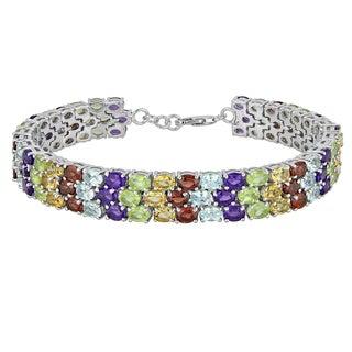 Sterling Silver Rainbow Gemstone Bracelet