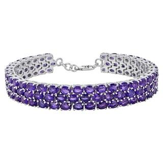 Sterling Silver Fine Amethyst Tennis Bracelet