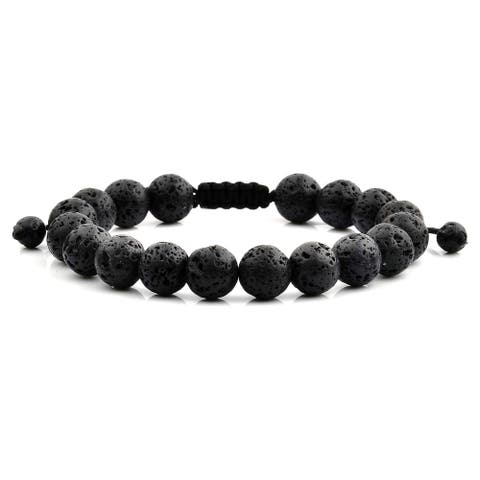 Black Lava Natural Healing Stone Bead Adjustable Bracelet (10mm)