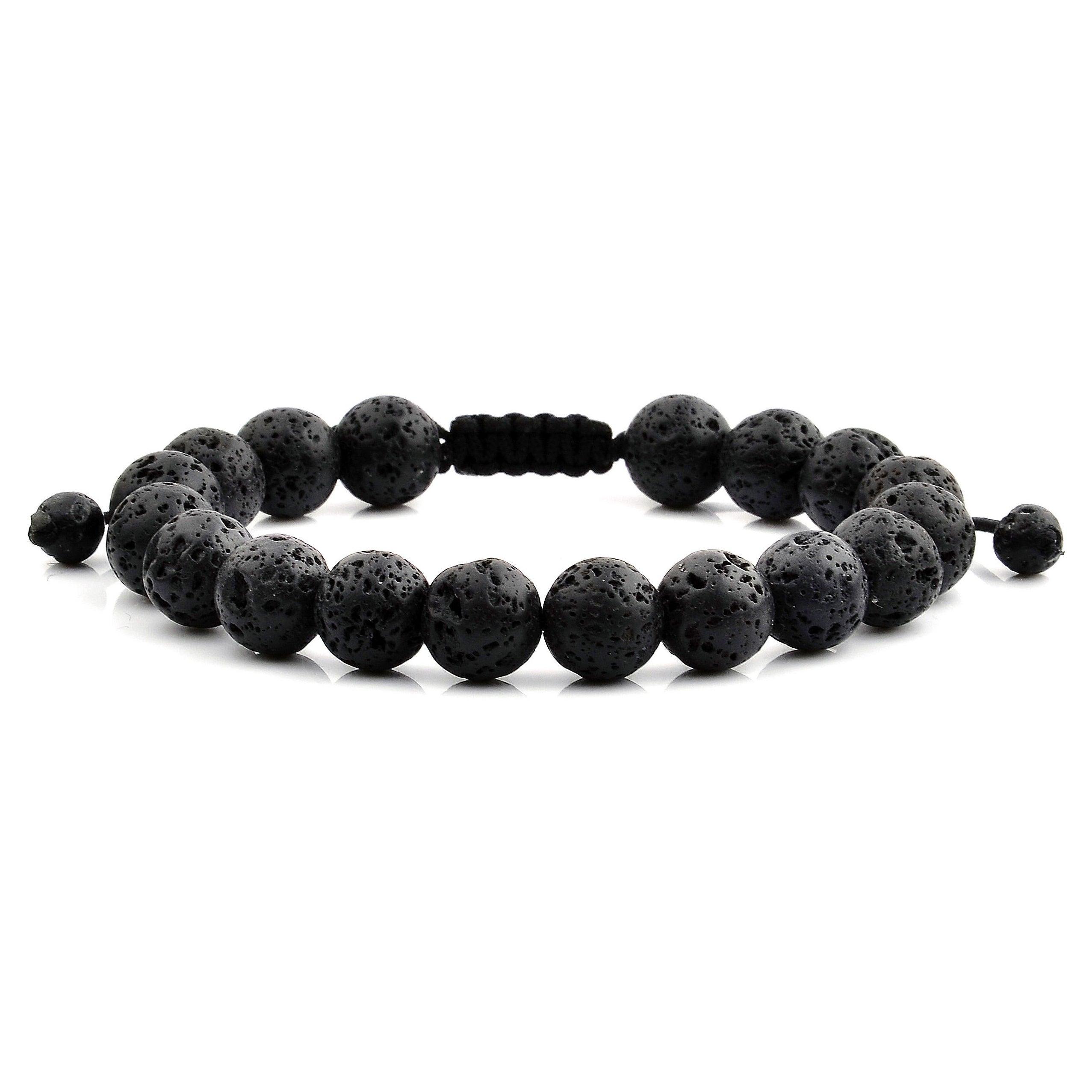 unisex bracelet mens bracelet adjustable bracelet black lava stone beaded bracelet bracelet for men mens jewelry gift for dad