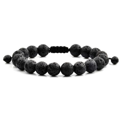 Black Lava Natural Healing Stone Bead Adjustable Bracelet (10mm)