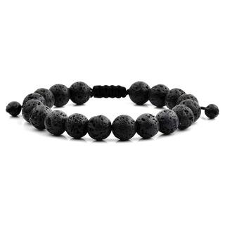 Men's Black Lava Polished Natural Healing Stone Bead Adjustable Bracelet - 8 inches (10mm Wide)|https://ak1.ostkcdn.com/images/products/13537274/P20217192.jpg?impolicy=medium
