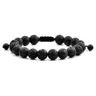 Men's Black Lava Natural Healing Stone Bead Adjustable Bracelet (10mm)